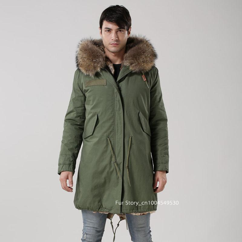Online Cheap Men Parka Jacket Faux Fur Coat With Real Raccoon Fur ...