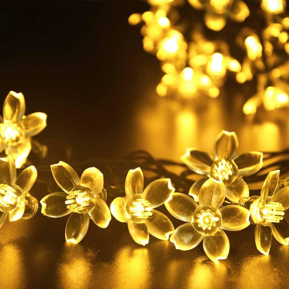 Solar flower fairy string lights tree lights 21ft 50 led blossom solar flower fairy string lights tree lights 21ft 50 led blossom decorative light 15wwarm white battery string lights outdoor globe string lights from mightylinksfo Image collections