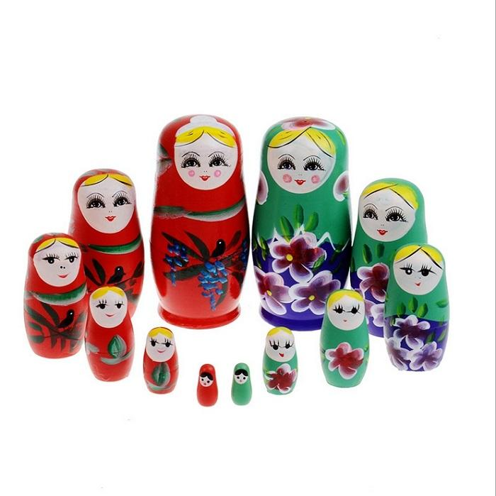 Cartoon Kids Toys Russian Nesting Dolls Matryoshka Doll Toy Handmade Wooden Blocks 6 color (6pcs=1set) MC-073
