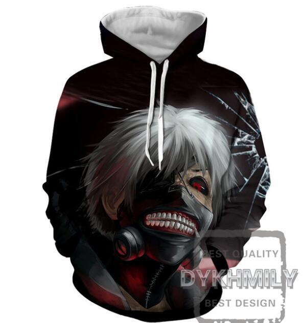 Nouveau Mode Couples Hommes Femmes Unisexe Tokyo Ghoul 3D Imprimer Hoodies Pull Sweat Veste Pull Top S-6XL TT50