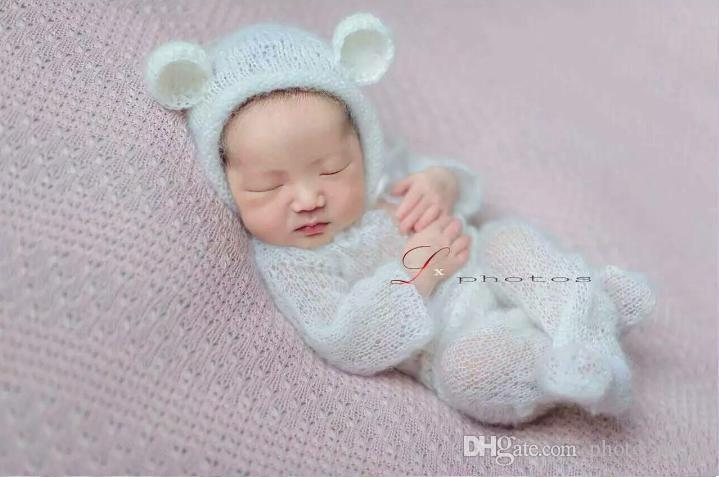 be96cd66439 Newborn Mohair Hooded Romper Baby Overall Outfithandmade Knitted Mohair  Bonnet And Romper Sets Onesie Newborn Photography Props Baby Feeding Spoons  Feeding ...