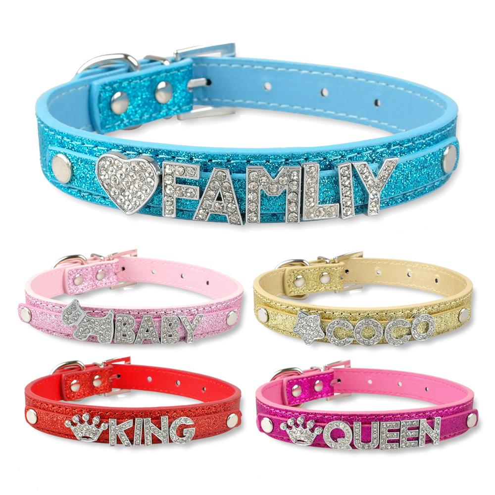 cbf28abfba 50pcs DIY Name Leather Pet Collar Personalized Dog collars for 10mm letters  5 colors 4 sizes