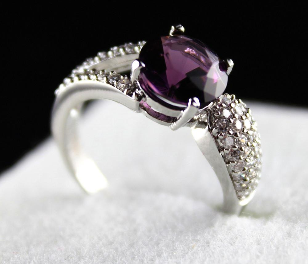 2015 Rushed Real Patines Silver Rings Jewellery For Women Luxury Jewelry  With Purple Stone Simulated Swiss Diamond Finger Ring Sterling J325