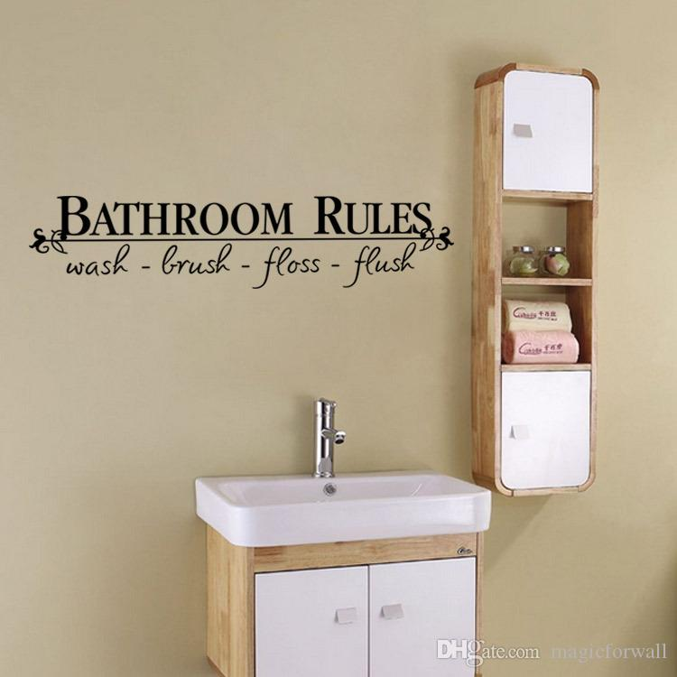 Bathroom Rules Waterproof Wall Decal Sticker Wash Brush Floss Flush Wall Quote Decoration Home Decal Decor for Bathroom