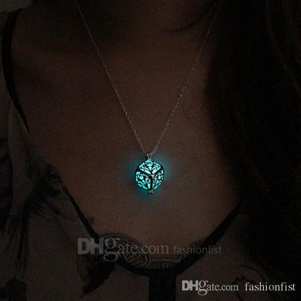 New Arrive Glow in Dark Pendant Necklace Luminous Cage Pendant Fashion Silver Chain Fit Square Pendant Necklace