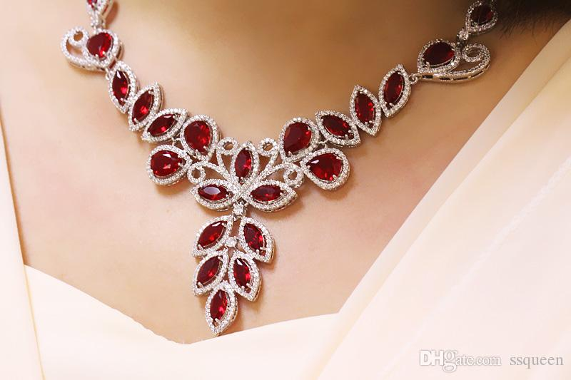 luxury 5A cz diamond Jewelry Sets earring Necklaces sets For Women Dinner dress Party
