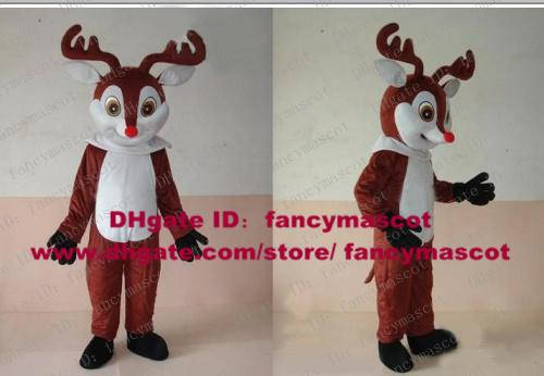 Vivid Red Brown Deer Reindeer Caribou Rangifer With Black Hands And Feet Mascot Costume Mascotte Adult Outfit No.183 Free Ship Costumes Uk Halloween ... & Vivid Red Brown Deer Reindeer Caribou Rangifer With Black Hands And ...