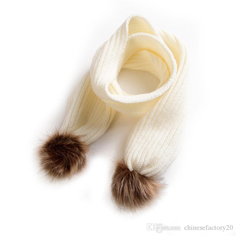 Bebek Kış Eşarp Crochet Erkekler Kızlar Saç Topu atkısı Çocuk Sıcak Örgü Atkılar Çocuklara Isıtıcı Yaka