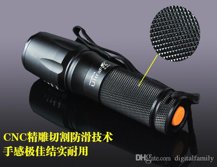 UltraFire 878 26650 Zoom Flashlight T6 L2 القابلة لإعادة الشحن مصغرة ركوب في الهواء الطلق للماء طويلة المدى
