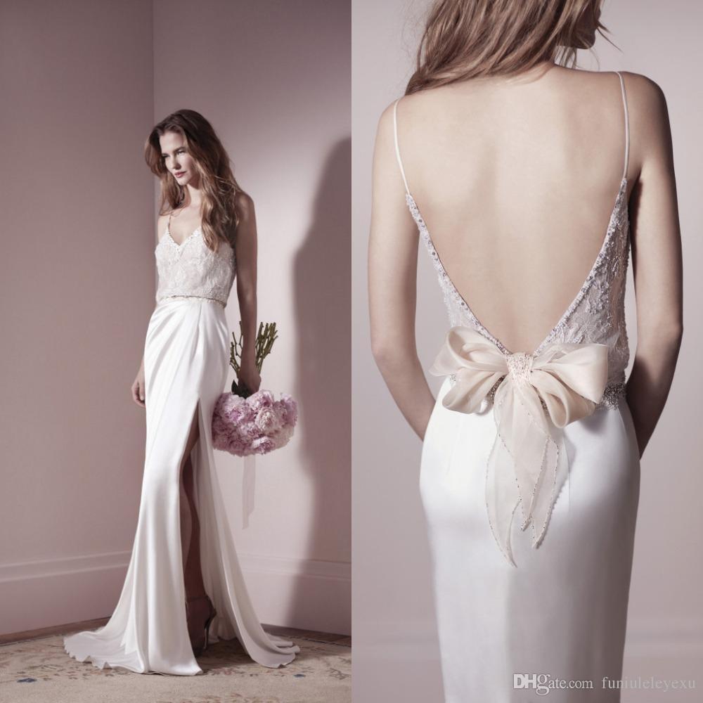 Charming 2015 Bridal Gown Sexy Spaghetti Straps V neck Backless Lace Beaded Belt Sheath Side Slit Chiffon Beach Wedding Dresses