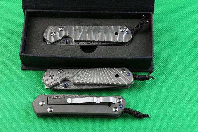 High end Chris Reeve Sebenza 21 pequeno dobrável Faca de aço Damasco 58HRC Lâmina de liga de titânio CNC facas alça ferramentas de corte EDC