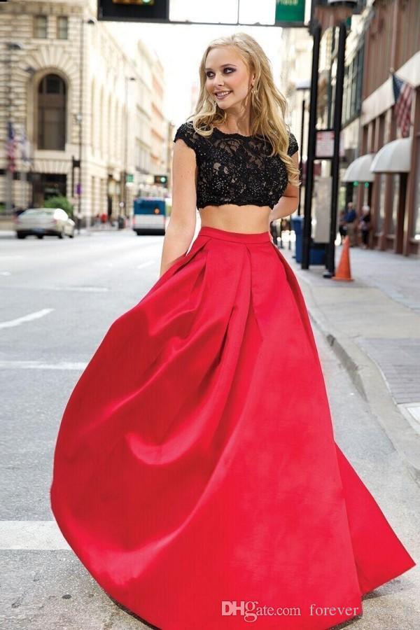Populaire twee stukken prom jurken een lijn illusie zwart kant gewas top open rug bedekte fuchsia rode rok satijn formele jurken