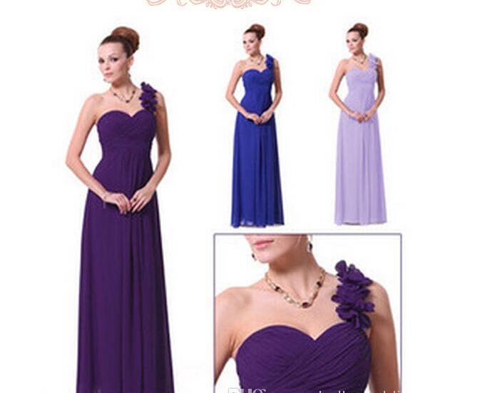 Großhandel Eine Schulter Brautjungfern Kleid Blue Maid Of Honor ...