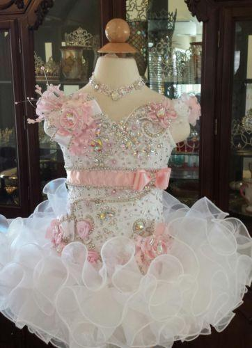 New White Girls Kids Pageant Dresses Formal Occasion Tiers
