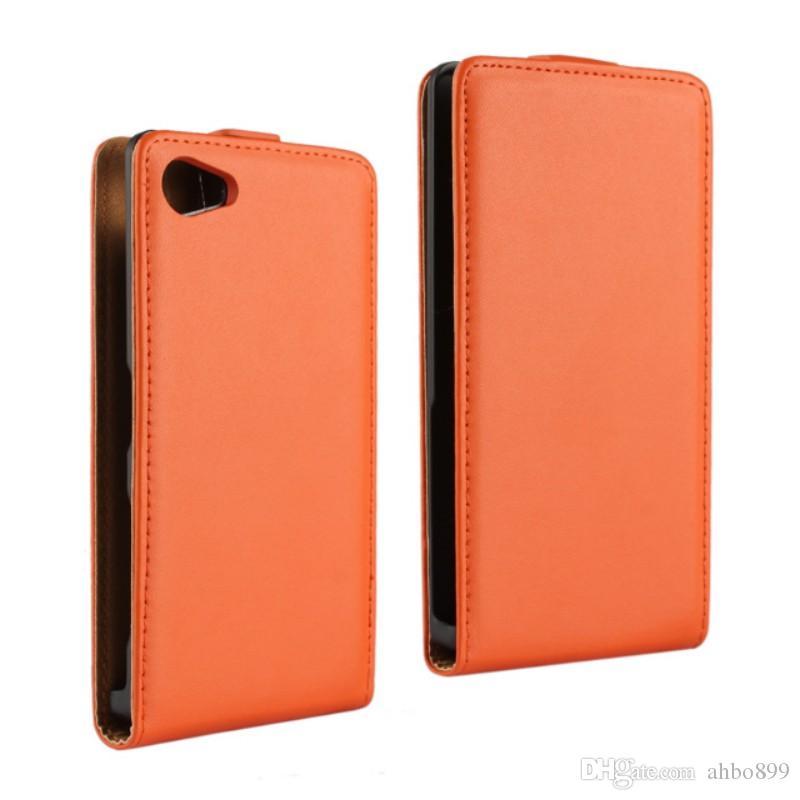 Sony Xperia Z5 Için toptan Kompakt 11 Renk Hakiki Deri Kapak kılıfı Manyetik Kapatma ile Sony Xperia Z5 mini Için Telefon Kılıfı