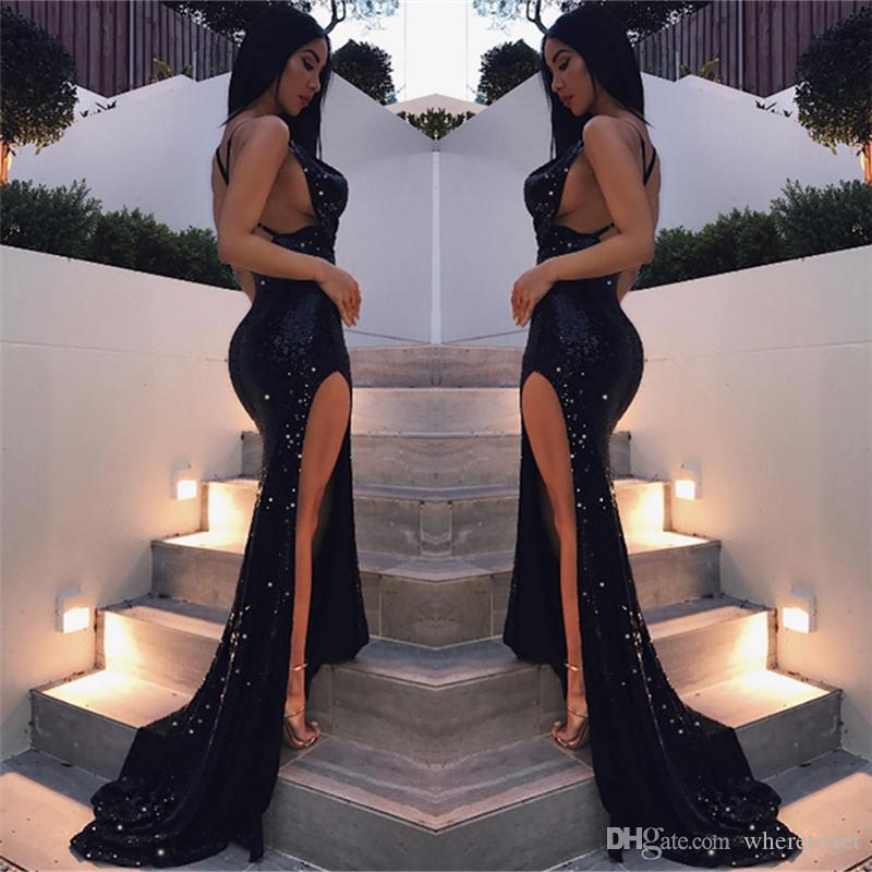 Sparkly Bling black Sequins Mermaid Prom Dresses 2019 Sexy Criss cross Spaghetti straps backless side split formal Evening Pageant Gowns