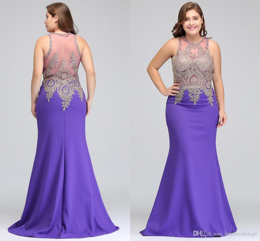 2018 Designer Occasion Dresses Lavender Plus Size Prom Dresses Illusion  Back Stretch Satin Formal Mermaid Evening Wear CPS525