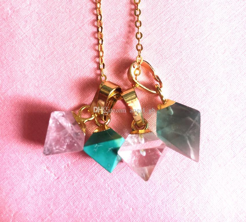 Petite Spike Point Crystal Quartz Rhombus Shaped Pendant Charm Gold ... 455b9438fe58