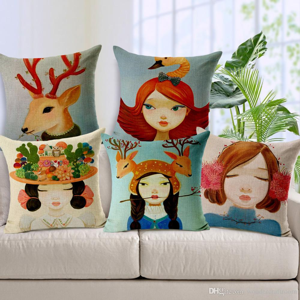 9 Style Cartoon Girls Cushions Pillows Covers Deer Elk Giraffe Snail  Flowers Headdress Cushion Cover Sofa Seat Linen Cotton Pillwo Case Gift  Cheap Patio ...