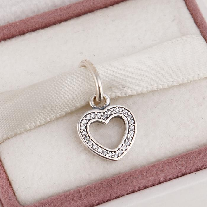 Подходит Pandora diy подвески браслет 2015 Новый стерлингового серебра 925 любовь сердца подвески подвески для женщин проложить ясно Циркон ювелирные изделия