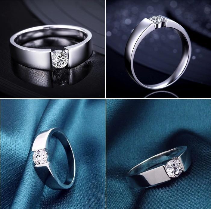 Snel gratis verzending Fijngroothandel - Solid 925 Sterling Zilver 0.6 CT Princess Cut Create Diamond Engagement Bridal Ring Set Sieraden