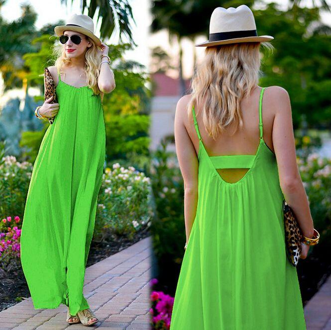 8fb8e194a515 2016 Summer Women Clothes Bohemian Style Chiffon Dress Fashion New Bright  Green Halter Sexy Asymmetrical Maxi Beach Dresses For Womens Pale Yellow  Maxi ...