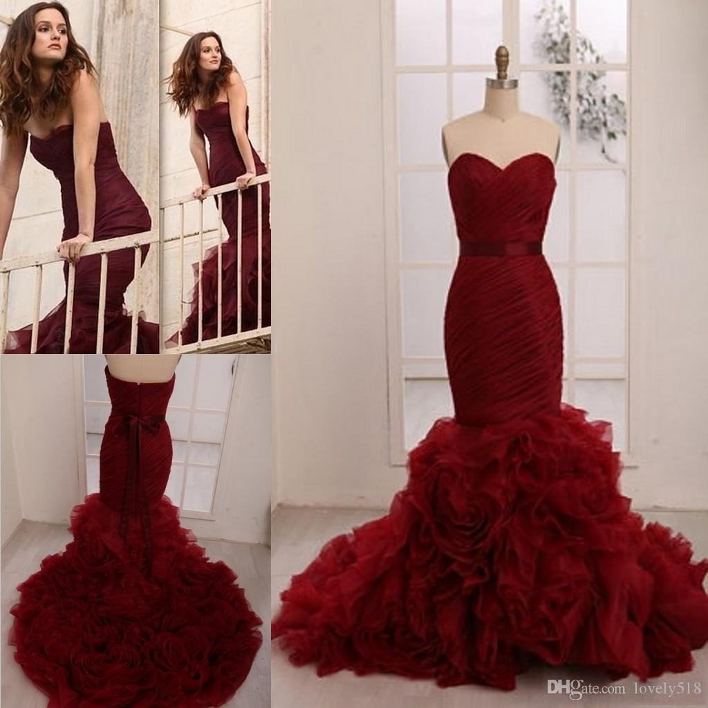 Real Image Colorful Wedding Dresses Leighton Meester Celebrity 2015 Plus Size Wine Red Burgundy Flouncing Organza 2016 Mermaid Bridal Gowns Simple