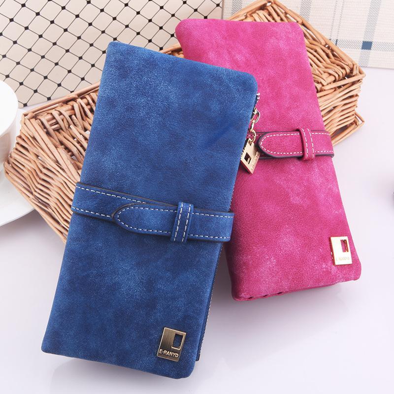 Brieftaschen Damen Damen Lange Matte PU Leder Haspe Clutch Brieftaschen Geldbörsen Kartenhalter Handtasche Monedero Lange Brieftasche Brieftasche 7 Farben