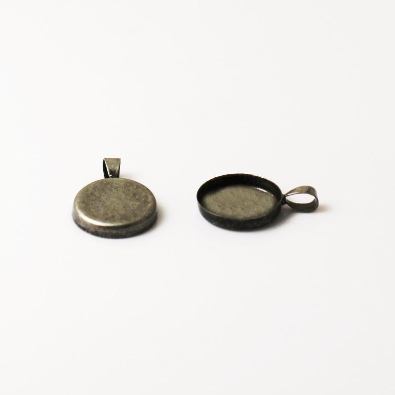 Латунный кулон для украшения бисера в виде рамки кабошона 18мм оптом Подвеска в виде рамки для смолы и кабошонов ID 5806