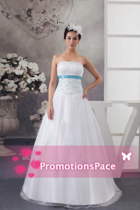 تصميم جديد حمالة 2015 فساتين الزفاف الخصر الإمبراطورية مع الضوء الأزرق الديكور الساتان شاح appliqued شاح زائد حجم أثواب الزفاف wdh1-476