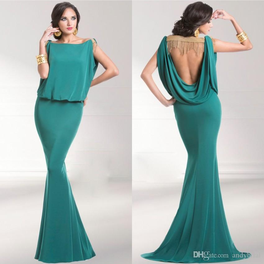 2015 Evening Dresses Mermaid Backless Evening Gowns Bateau Sweep ...