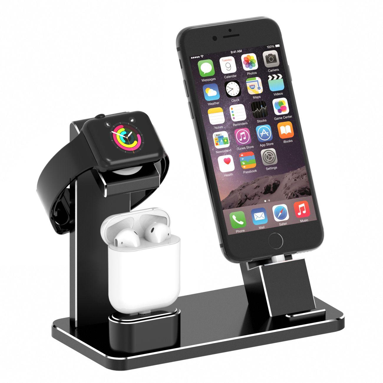 2 Night Stnder Fr Apple Armbanduhr Tintnwrap Spigen Watch Stand S350 Volt Black Premium Airpods Ladestation Aluminium