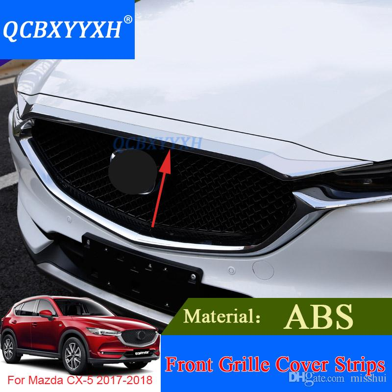 QCBXYYXH Car Styling ABS Chrome Front Grille Hood Engine Cover Trim For Mazda CX-5 2017 2018 External Sequins Accessories