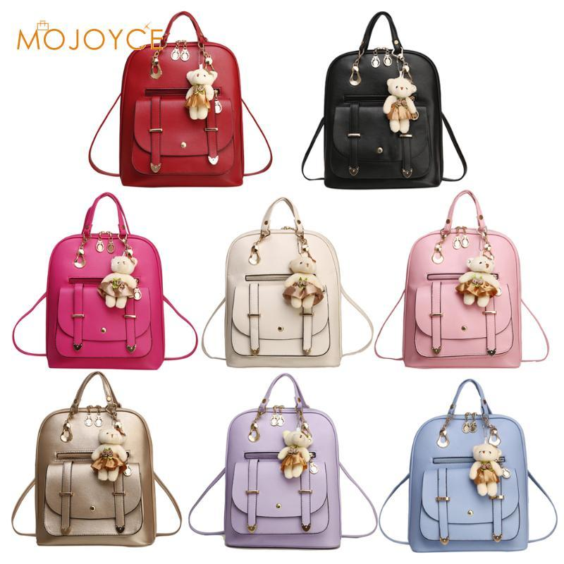 2017 New Casual Girls Backpack PU Leather Fashion Women Backpack School Travel Bag With Bear Doll For Teenagers Girls