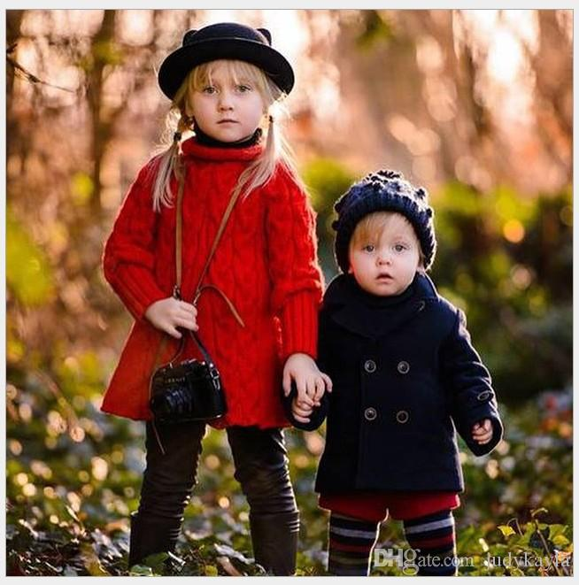 Fashion Boys Girls Woolen Coats 2016 Spring Kids Double-Breasted Turn-Down Collar Outwear Children Clothing Baby Boy Girl Thicken Coat
