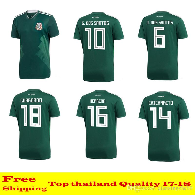Calidad Tailandesa México Jersey 2018 Copa Del Mundo Chicharito Chucky  Lozano Dos Santos Herrera Layun México Camiseta De Fútbol Camisetas De  Futbol Por ... 011fcec8872b6