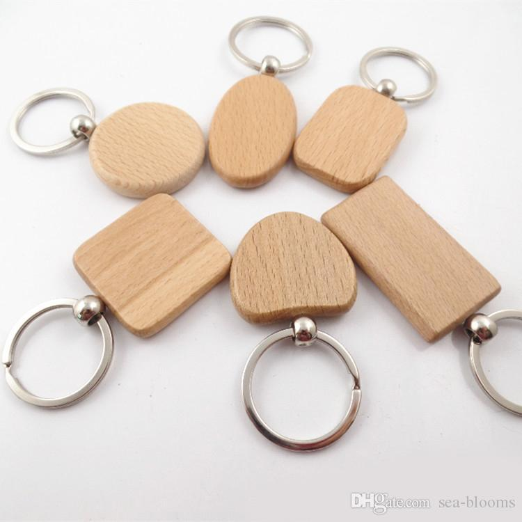6 Shape Blank Wooden DIY Keychain Key Chain Ring Carving Oval Round Square Heart Shape Key Holder Car Pendant Free DHL D274L
