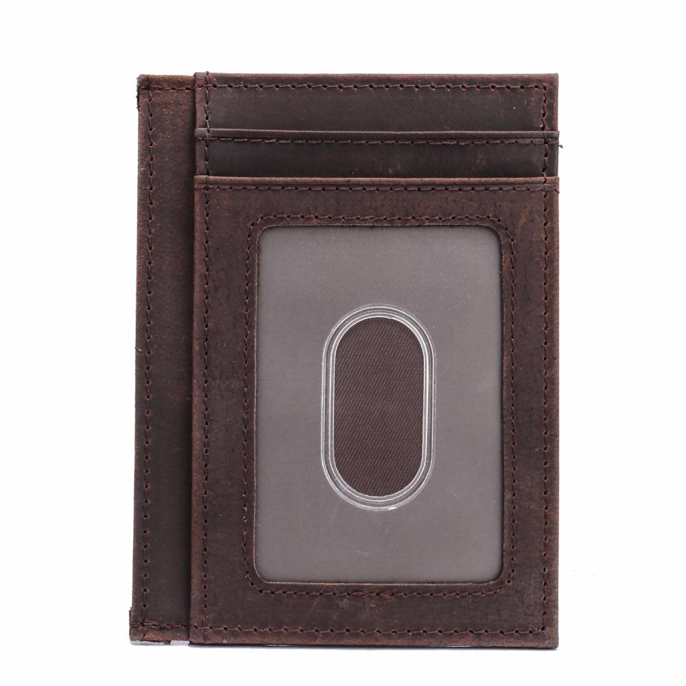 26a2de59c6a Men Crazy Horse Genuine Leather Ultra Slim Wallet Rfid Blocking ...