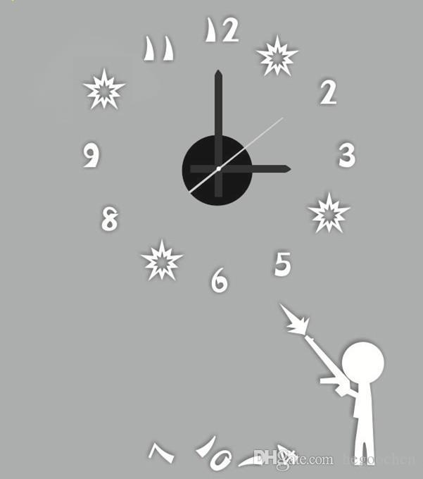 Frete grátis 3D relógio de parede grande tamanho da etiqueta LumiNova acrílico DIY breve relógio de parede sala de estar decoração da sala de reunião