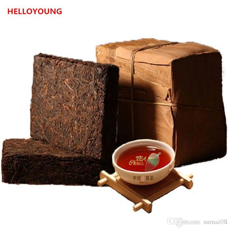 250g Ripe Puer Tea Brick Yunnan High Quality Organic Natural Black Puer Tea Old Tree Cooked Puer Bamboo shell packing Promotion