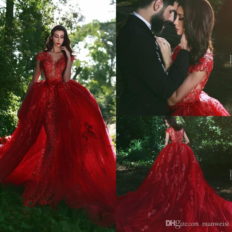 Classy Mermaid Overskirts Red Prom Dresses Long Lace Applique Sheer