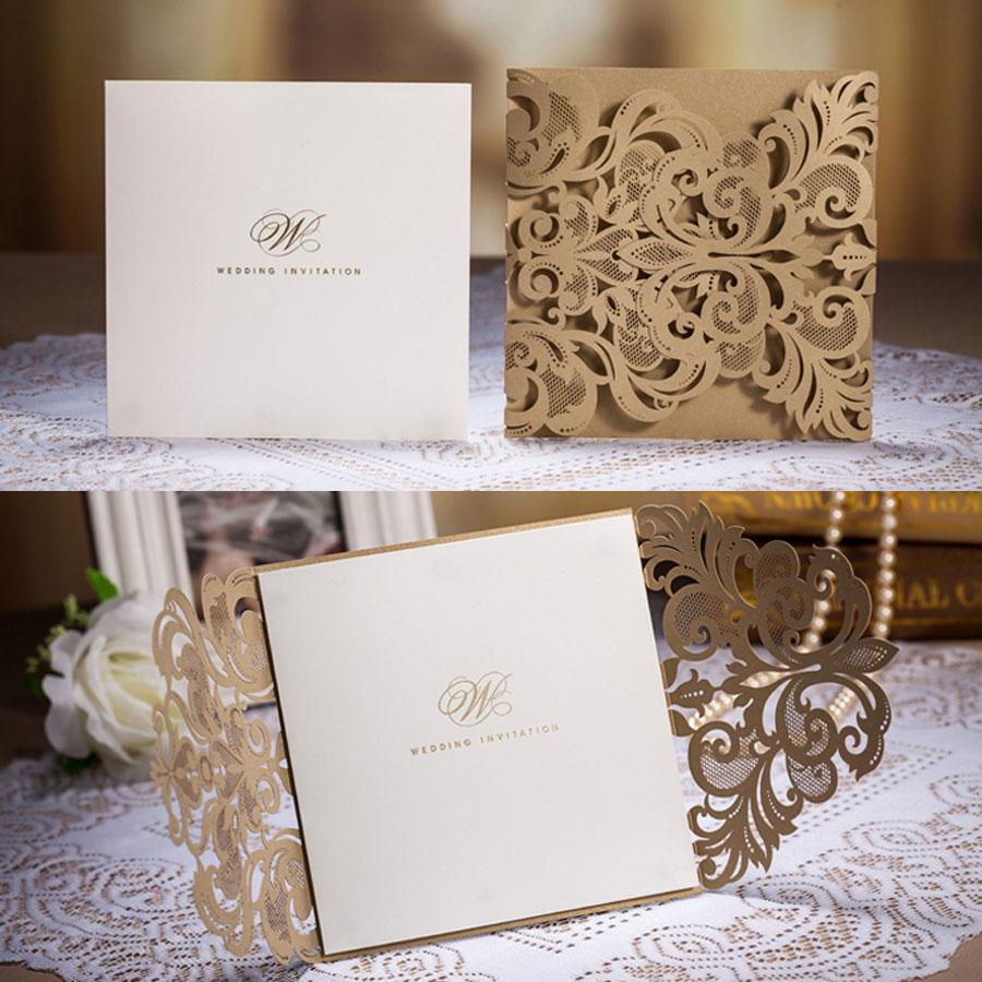 Cheap Unique Wedding Invitations: 2014 Hot Cheap Golden Chic Flower Heart Cut-out Free