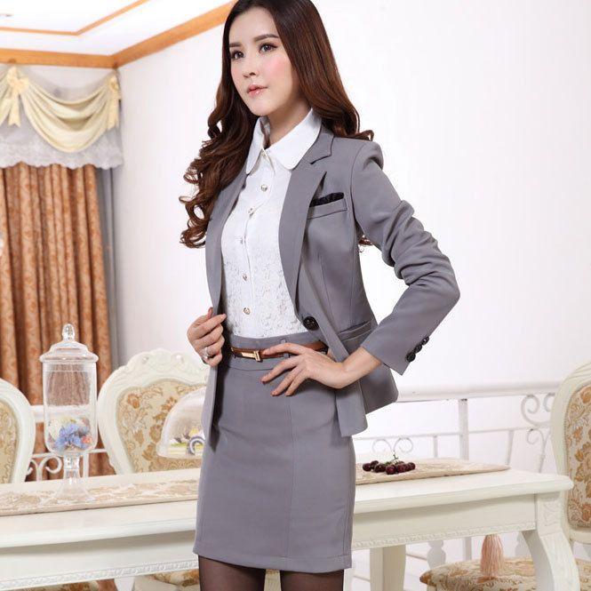 Spring Autumn Womens Suits Blazer with Skirt 2015 Elegant Women ...