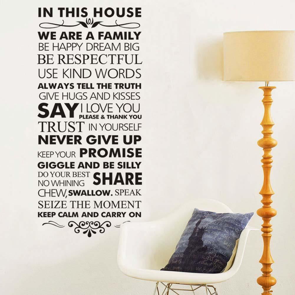 In This House Family Rules Home Decor Quotes Wall Decal 8084