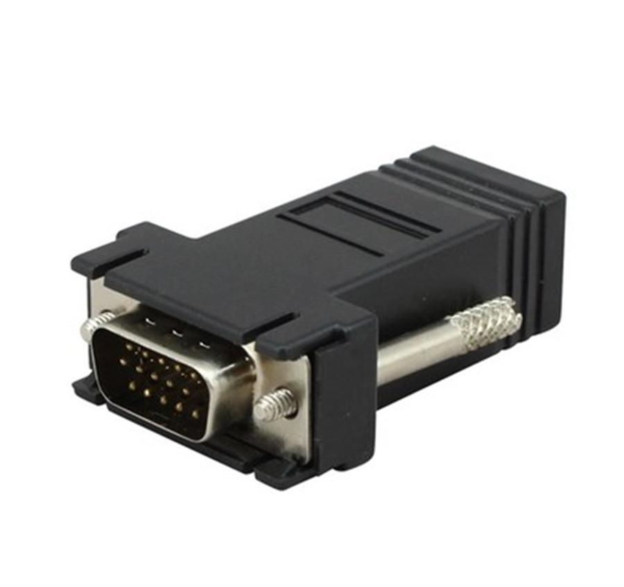 Бесплатная доставка+100 шт./лот!! HD15 VGA расширитель Мужской к LAN CAT5 CAT6 RJ45 сетевой кабель женский адаптер комплект