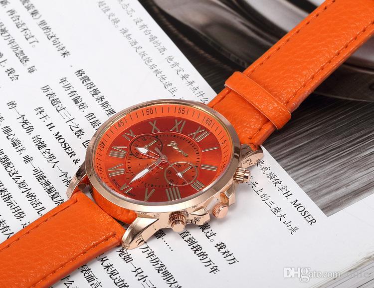 Moda Sombra de Genebra 3 olhos das mulheres dos homens unisex relógios Relogio de Quartzo Algarismos Romanos Faux Leather Analógico Relógio de Pulso mix cores