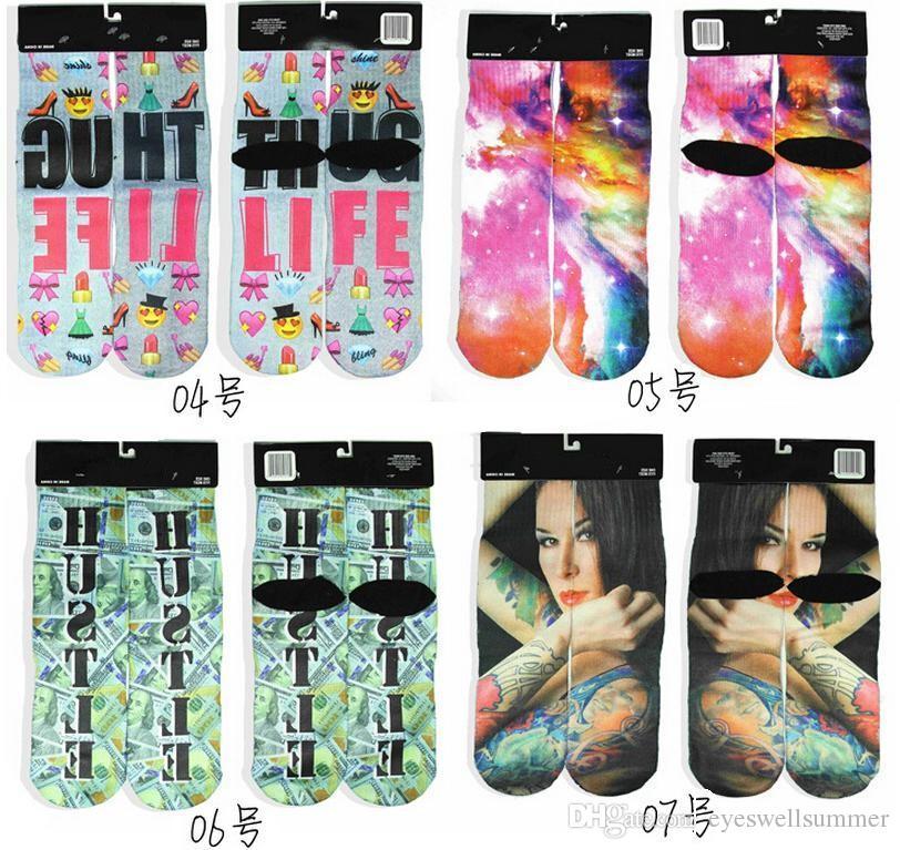 New Fashion Sport Stockings Printing Socks Adult Men's 3D Printed Stocking New Pattern Hip Hop Soft Cotton Sock Unisex SOX socks