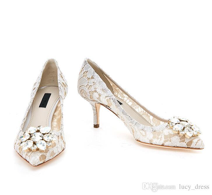 compre encaje blanco vintage y zapatos de boda de piel de oveja