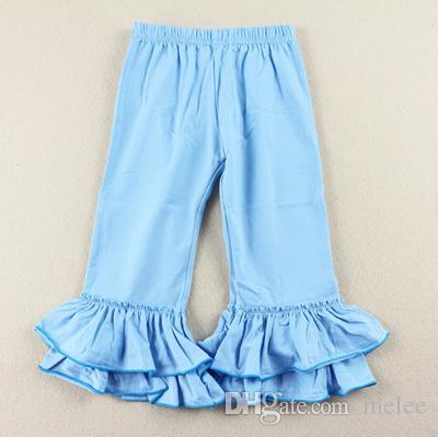 14 цвет красный зеленый сплошной цвет рябить брюки для девочки малыша двойными оборками брюки модные брюки