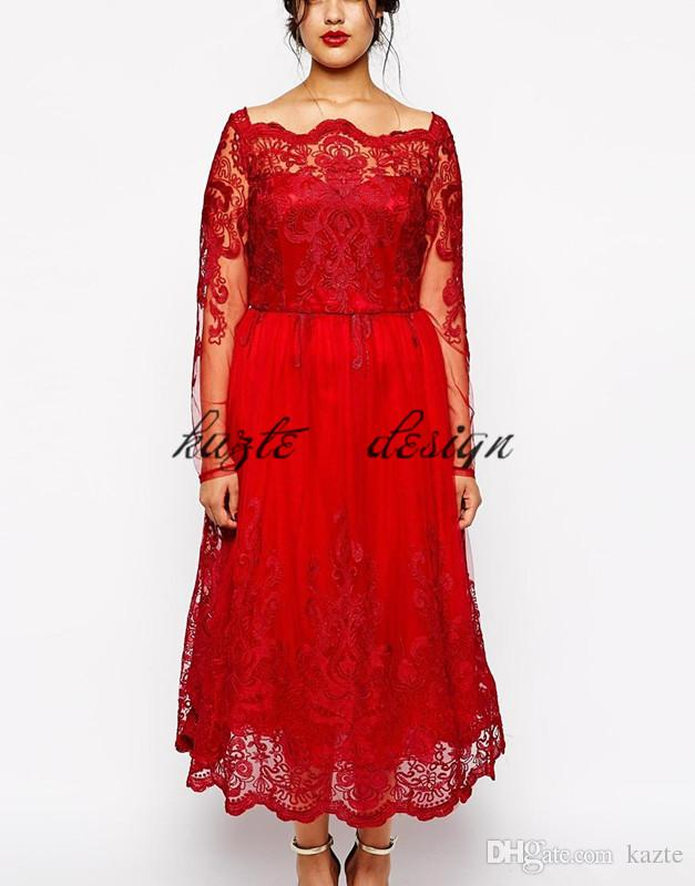 Plus Size Vintage Tea-length Prom Dresses with Long Sleeves 2018 Custom Make Red Lace Applique Bateau Neck Dubai Arabic Evening Gowns